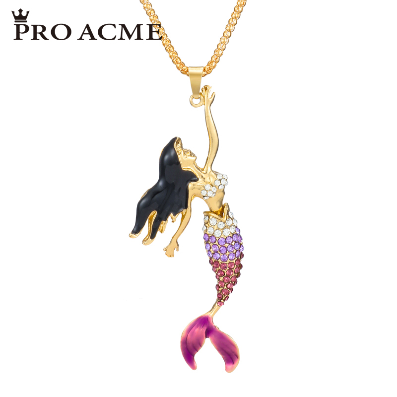 Pro Acme Exquisite Mermaid Crystal Sweater Chain Pendant Necklace Women Rhinestone Long Necklace Christmas Gift PN0802