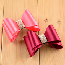 8pcs Wine Red Peach Coral Hot Pink Satin Covered PVC Hair Bows without Clips,Rhinestone Bows,for DIY Bow Headbands,Clips
