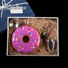Mealivos Portable Doughnut 10 oz Stainless Steel Hip Flask drinkware Alcohol Liquor Whiskey vodka Bottle bridesmaid gift Box
