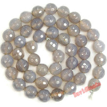 Fctory Price 12mm 14mm Round Faceted Gray Agat Beads Natural Stone Beads DIY Loose Beads for Jewelry Making JD538