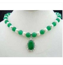 Charm white pearl  green jades pendant necklace