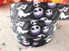 "New arrival 7/8"" (22mm) skull printed grosgrain ribbons halloween ribbon hair accessories 10 yards WQ14091411(China)"