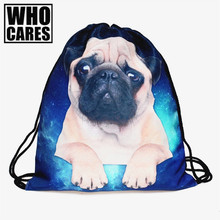 Pug dog 3D printing mini backpack women who cares 2017 new drawstring bag String Rucksack mochila feminina Travel sac a dos bags