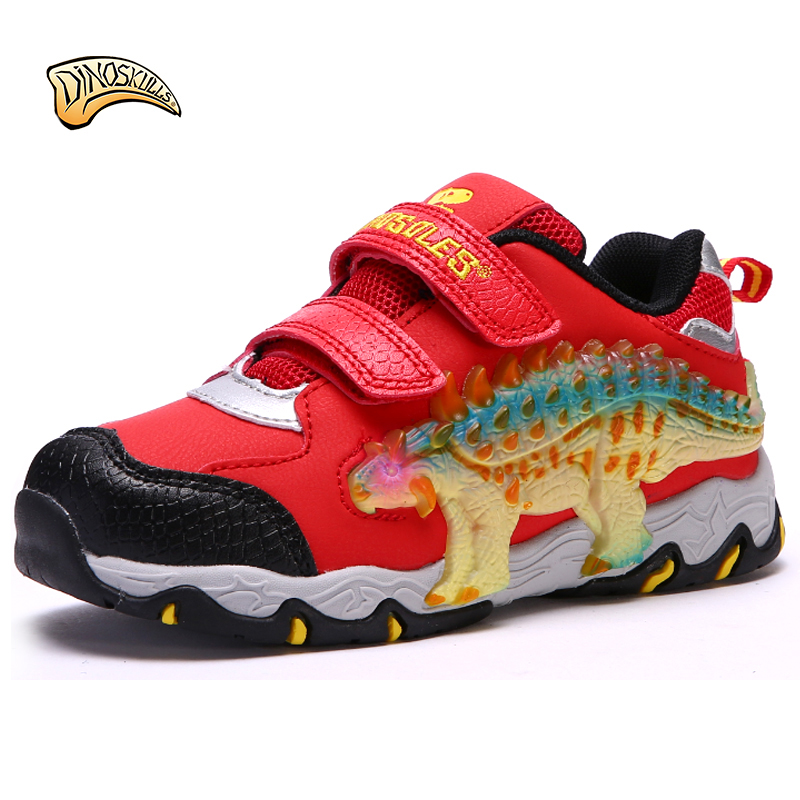Dinoskulls 2018 Children shoes Spring Autumn breathable 3D Dinosaur shoes boys shoes with light led size 27-34# <br>