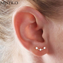 MESTILO Unique Design Gold Silver Color Ear Jewelry Vintage Three Star Perfect Stud Earrings for Girls Teens Boucle d'oreille(China)