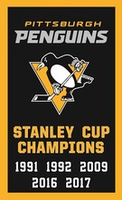 NHL 2017 Pittsburgh Penguins flag Champion Banner 100D Polyester Flag(China)