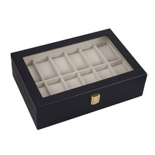 GENBOLI 12 Grids Black Wood Watches Jewelry Storage Organizer Holder Box Case Casket For Jewellery Display Gift Porta Joias New(China)