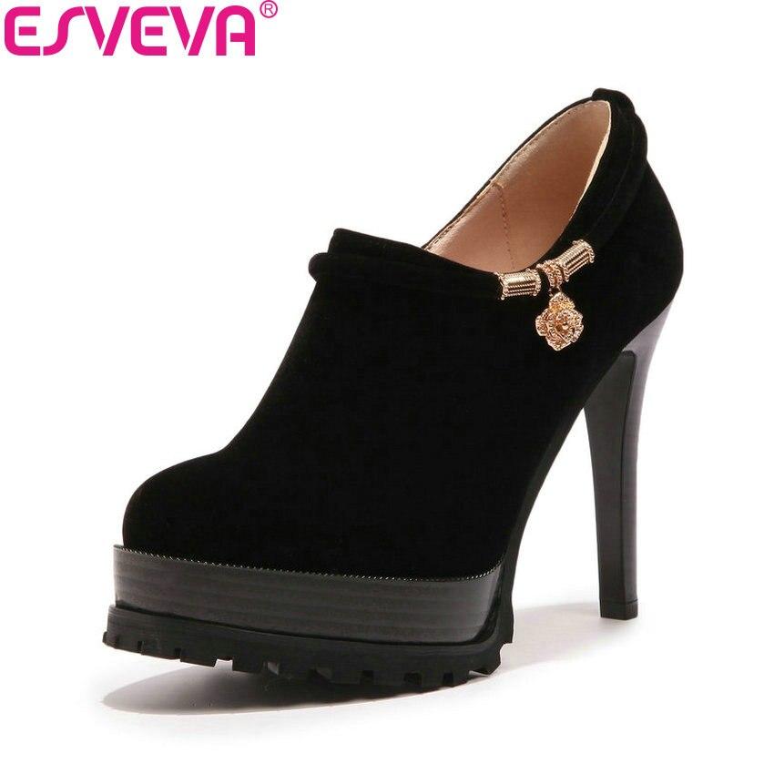 ESVEVA 2018 Women Pumps Zippers Western Style All Match Shoes Round Toe Suede Thin High Heel Platform 3cm Women Shoes Size 34-43<br>