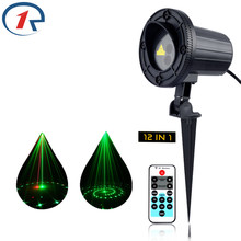 ZjRight IR Remote Red Green 12pattern Laser Lights Outdoor garden projection floor lamp party KTV bar dj night stage disco light(China)