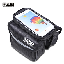 DUUTI Bicycle Frame Front Head Top Tube Waterproof Bike Bag&Double IPouch Cycling For Cell Phone Bike Accessories