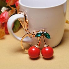 Plant Keychain - Factory Direct Creative Red Cherry Keychain Bag Ornaments Crystal Key Chain Jewelry