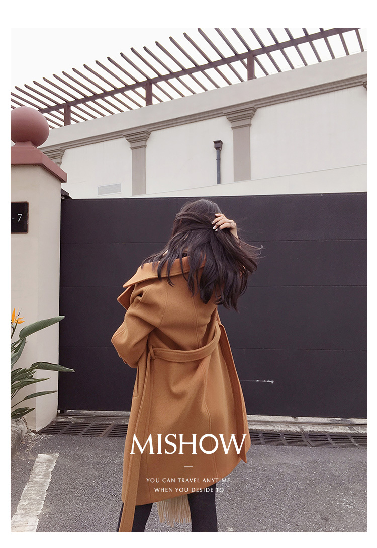 Mishow 19 autumn and winter woolen coat female Mid-Long New Korean temperament women's popular woolen coat MX17D9636 36