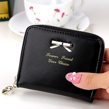 Zipper Leather Purse Wallet Money Card Holder Coin Bag Coin Purses Ladies Girls Bow Knot Pendant For Women Girl