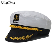 Vintage navy cap Captain Flat Top Male Hat Golden Leaves Embroidery Commander Cap Sailor Logo Man Sunhat British Army Caps