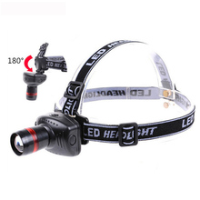 Hot Selling Zoomable Mini LED Headlamp Waterproof Headlight 3 Mode Energy Saving Head Lamp LED Flashlight Black(China)