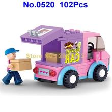 Sluban 0520 Pink Dream Series Supermarket Delivery Car 102pcs Building Block Brick Toy