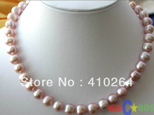"free shipping $wholesale_jewelry_wig$  17""  10~11MM ROUND LAVENDER FRESHWATER PEARL NECKLACE"