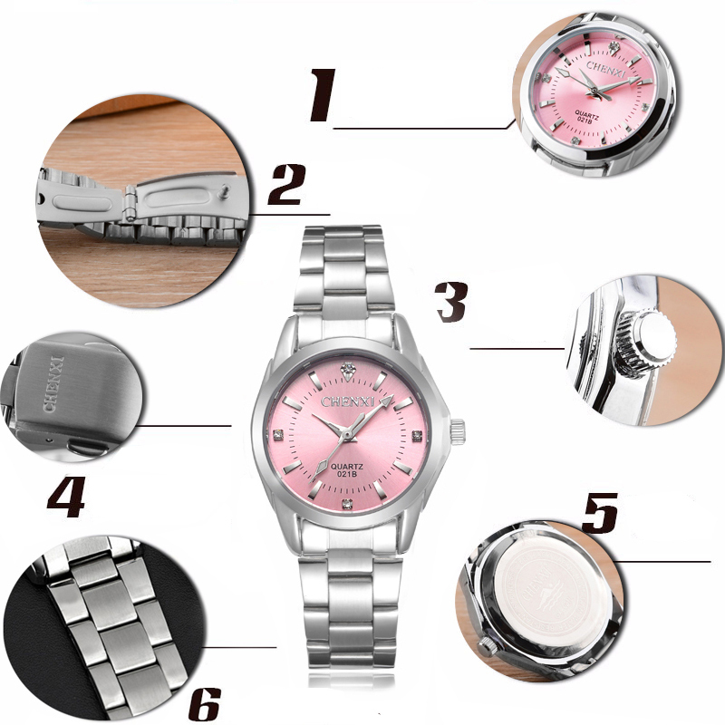 6 Fashion colors CHENXI CX021B Brand relogio Luxury Women's Casual watches waterproof watch women fashion Dress Rhinestone watch 12