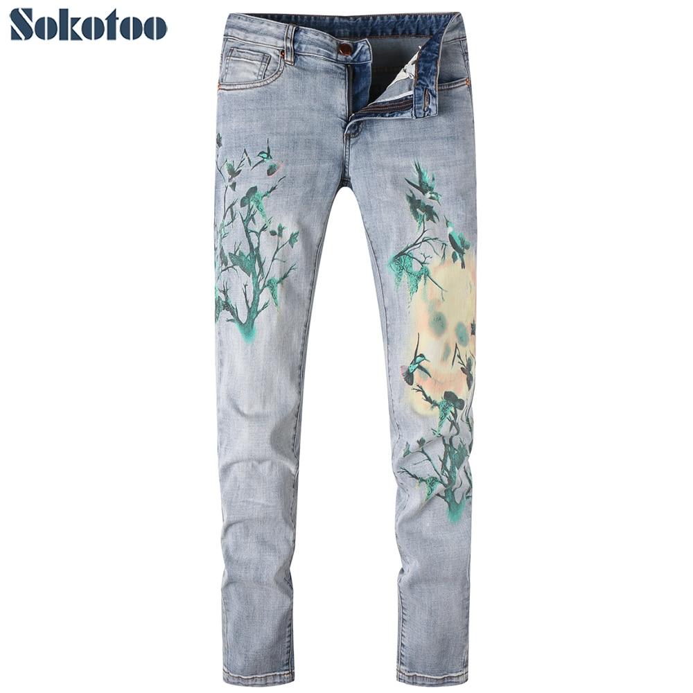 Sokotoo Mens fashion birds colored painted print jeans Slim light blue denim pantsÎäåæäà è àêñåññóàðû<br><br>
