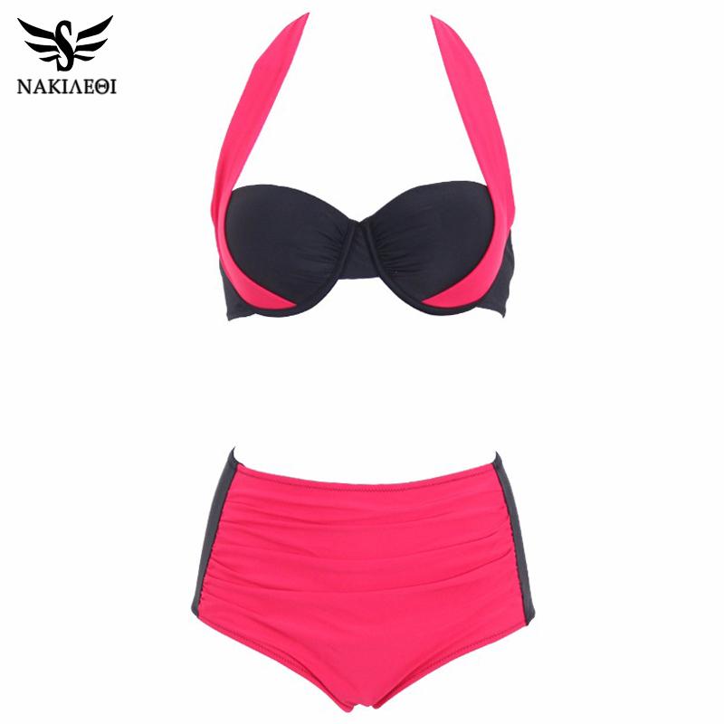NAKIAEOI 19 New Sexy Bikinis Women Swimsuit High Waisted Bathing Suits Swim Halter Push Up Bikini Set Plus Size Swimwear 4XL 26