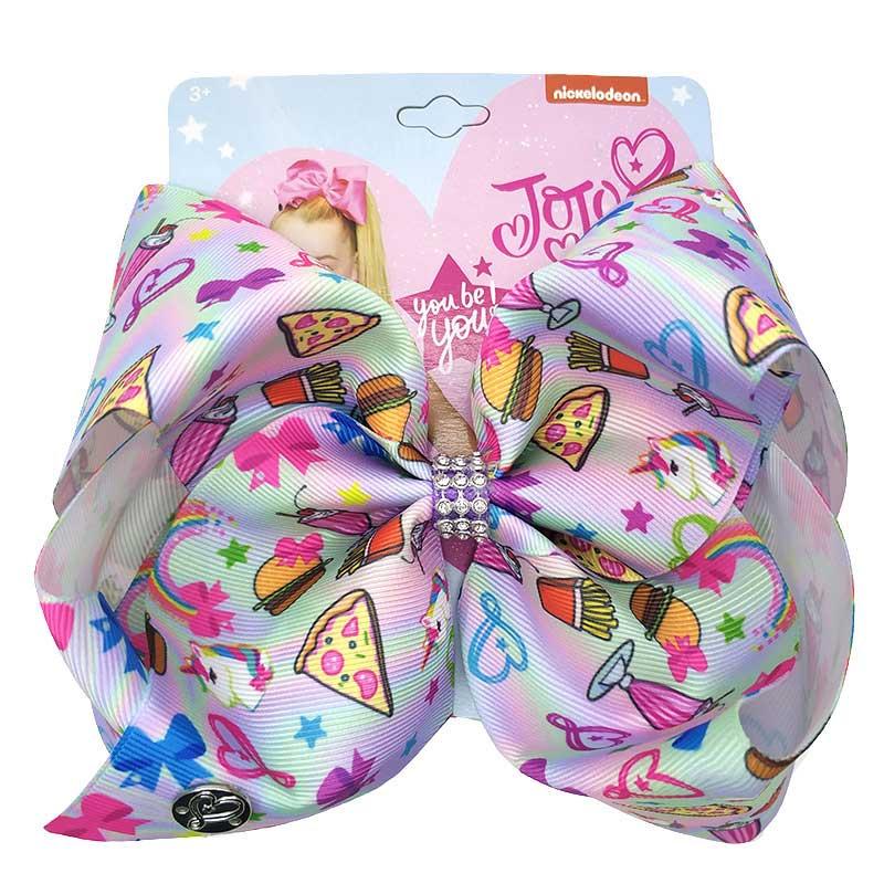 JOJO SIWA Bows Large Rainbow Bow-knot Print Grosgrain Ribbon Hair 8 in