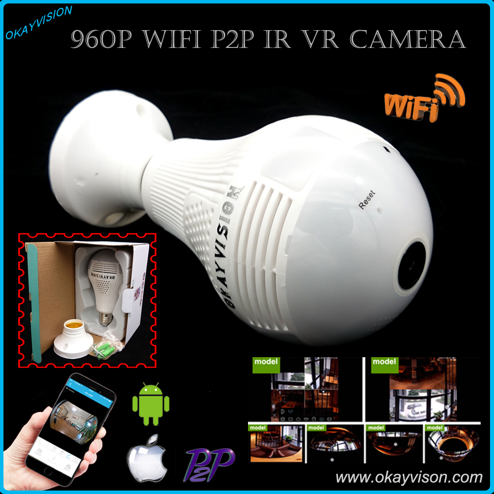 Bulb Light LED Wireless IP Camera  FishEye 960P 360 degree Smart Home HD VR Camera 1.3MP Home Security WiFi Panoramic Camera <br>