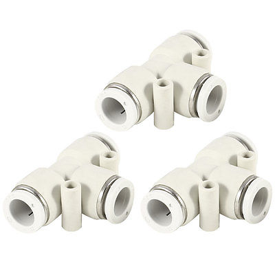 3 Pcs 12mm to 12mm T Type 3 Ports Air Pneumatic Quick Fitting Connectors White<br><br>Aliexpress