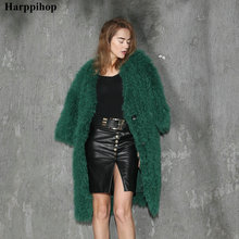 New fashion genuine Mongolia sheep fur /fleece fur knitted fur coat green color long style with pockets decorate