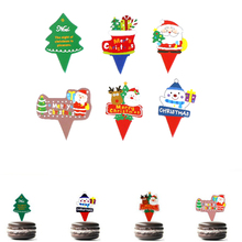 New 50Pcs/lot Christmas Cupcake Topper Cake Wrappers Decoration Accessories Items Gear Stuff Supplies Products new year(China)