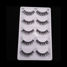 5 Pairs New Long Thick Cross Makeup Beauty False Eyelashes Eye Lashes Extension Tools
