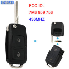 2 Button Folding Flip Remote Car Key with Blank Blade + ID48 Chip 7M3 959 753 For VW For Volkswagen Sharan Model (2004+) 433MHZ(China)