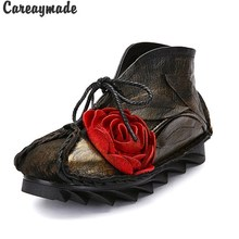 "Careaymade-New Head layer cowhide pure handmade ankle half short boots ,""Sen female"" casual Retro nation style women's Boots(China)"