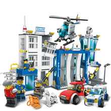 870Pcs City Police Station Big Building Blocks Bricks Helicopter boys Toys Birthday Gift Toy Brinquedos Compatible with Legoe