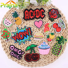 1Pcs Cake Ice Cream Patch Hamburg Tree Cheap Embroidered Cute Patches For Clothes Iron On Cartoon Hippie Heart Badges Stickers