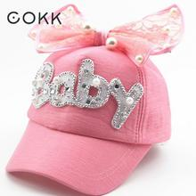 COKK Brand New Summer Children Kids Pearl Flower Bow Peak Cap Baseball Cap Hat For Girls Children Adjustable Snapback Casquette(China)