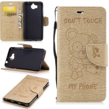For Huawei Y6 2017 Retro Flip Leather Case 5.0inch Cute Bear Wallet Fiber Texture Leather Cover For Huawei Y5 2017 phone bag