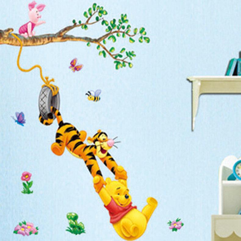 HTB1duC8hNPI8KJjSspfq6ACFXXae - Baby Bear Cartoon DIY Wall Stickers For Kids Children Room Decaor 3d Window Bear Winnie Pooh Nursery Wall Decals