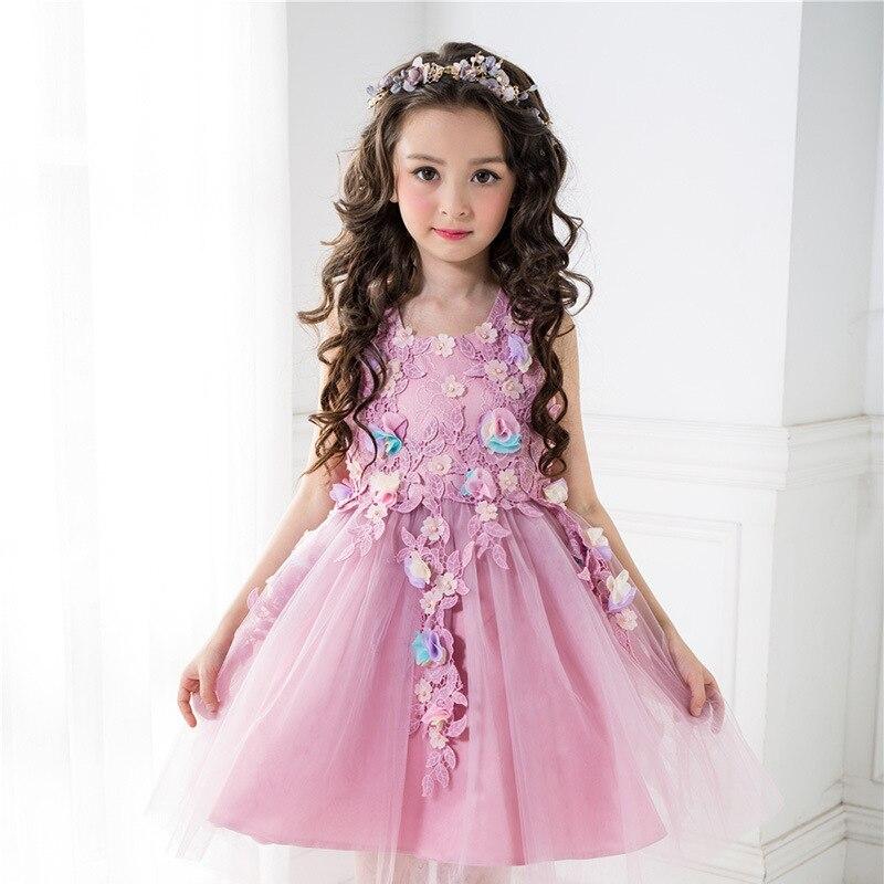 Flowers Formal Dress for Girls Wedding Light Purple High-End Flower Girl Vestido 2017 Gilr Clothes of 3 4 6 8 10 12 T RKF174004<br>