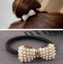 2016 New Style Fashion Lovely Pearl Bow Bowknot Hair Band Hair Clip Elastic Hair Accessories xth038