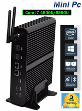 Hystou Fanless Mini PC Server Intel Core i7 4500U i7 5550U Workstation Windows Linux TV Box 4K HTPC 2HDMI 2LAN USB3.0 Desktop