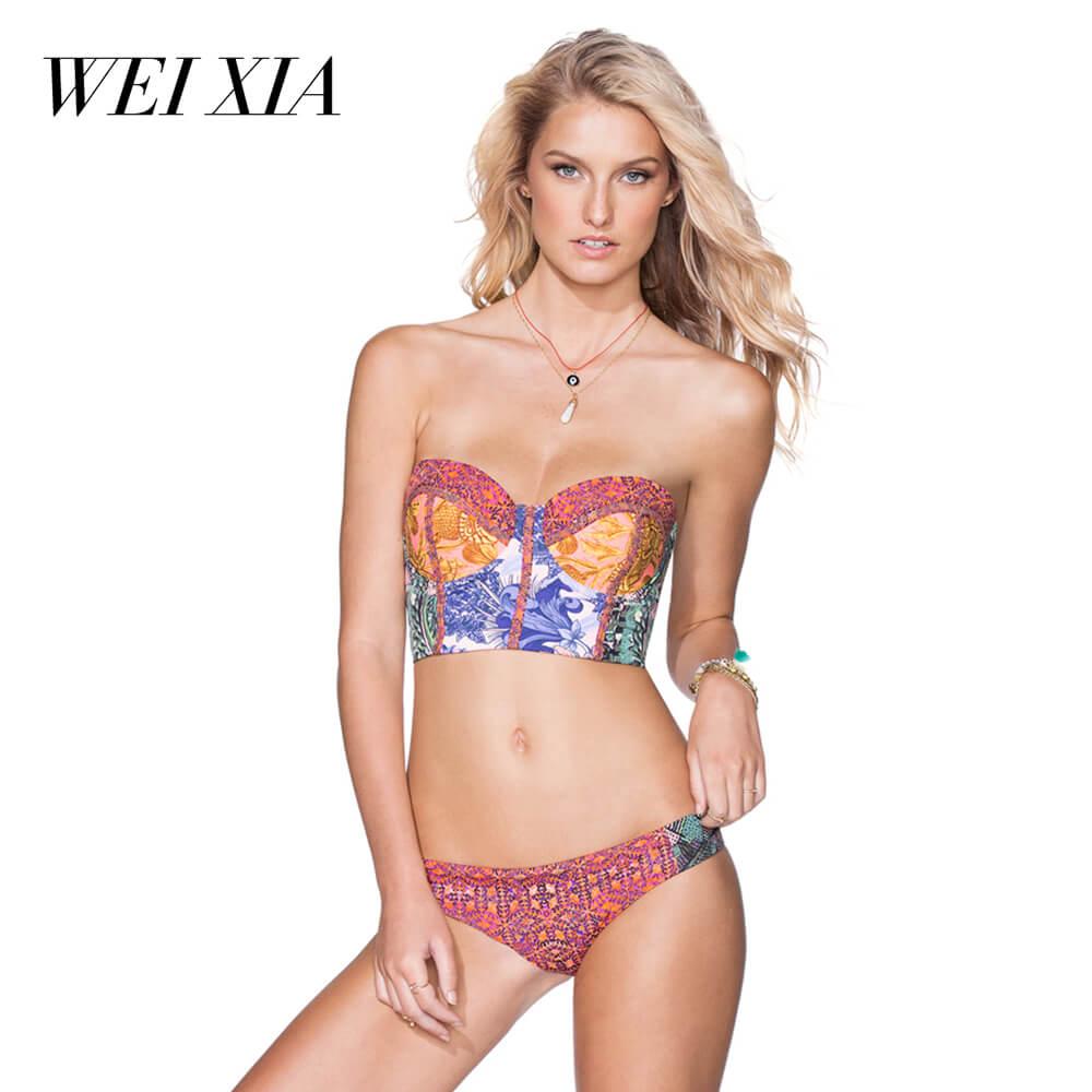 WEIXIA 2018 Hot Sale bikini Womens Sexy Brazilian 2PCS Bikini ZY005 Sets Swimsuit Push Up Bra Swimwear Swimsuit Brazilian Beach<br>