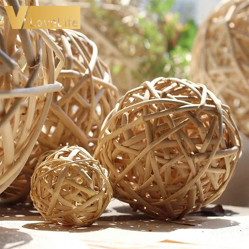 5x Star Rattan Wicker Ball Ornament Christmas Party Table Decor Natural 7cm