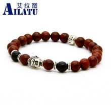 Ailatu 8mm Red Color Sandalwood Tibetan Style Buddhist Prayer Mala Buddha,Skull and Owl Charm Bracelet