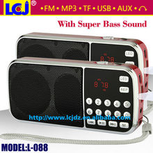 Free shipping L-088 mp3 player mini mp3 music player speaker with fm radio and LED flashlight supporting TF/USB/AUX/earphone