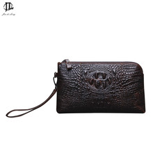 New Vintage Crocodile Pattern Genuine Leather Men's Daily Cluth Bag Wallet Purse Business Mobile Phone Zipper Bags Handbag