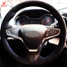 XUJI Black Suede DIY Hand-stitched Car Steering Wheel Cover for Chevrolet Cruze 2015 New Cruze(China)