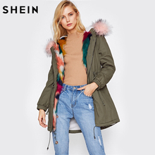 SHEIN Faux Fur Trim Split Back Parka Coat Winter Coats for Women Green Single Breasted Long Sleeve Hooded Parka(China)