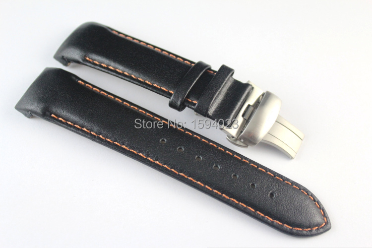 22mm T035407 T035410 High Quality Silver Butterfly Buckle Orange Stitched Black Smooth Genuine Leather Watchband For T035 Straps<br><br>Aliexpress