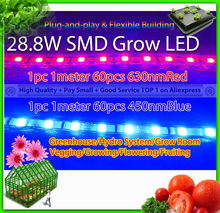 28.8w 2pcs per lot, 1 630nmRed + 1 450nmBlue SMD Strip flexible led grow light for plants grass in aquarium, hydroponics system(China)