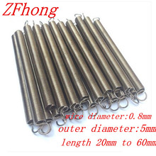 10PCS 0.8 x 5mm 0.8mm stainless steel Tension spring with a hook extension spring length 25mm to 60mm(China)